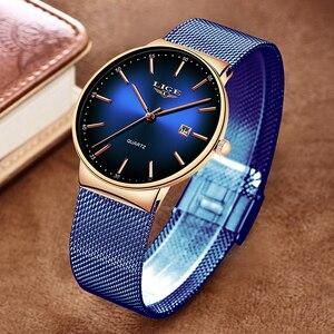 Image 3 - LIGE nowe męskie zegarki Top marka luksusowa modna siatka zegarek na pasku mężczyźni wodoodporny zegarek na rękę analogowy zegar kwarcowy erkek kol saati