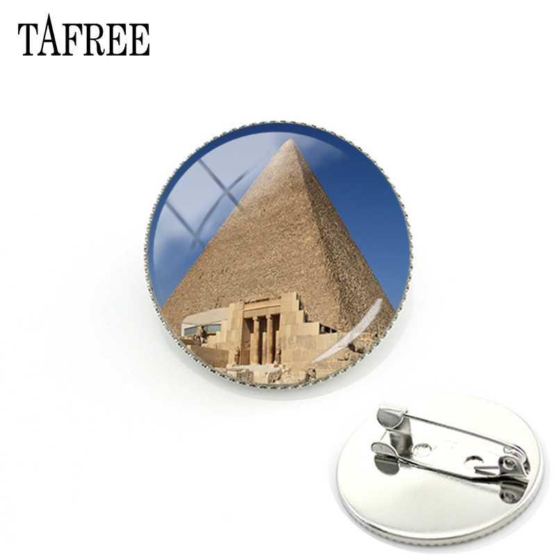 TAFREE Famosa Imagem Cenário de Pirâmides no Egito Esfinge Pinos Broche Vidro Bijoux Jóias FA84 Emblemas