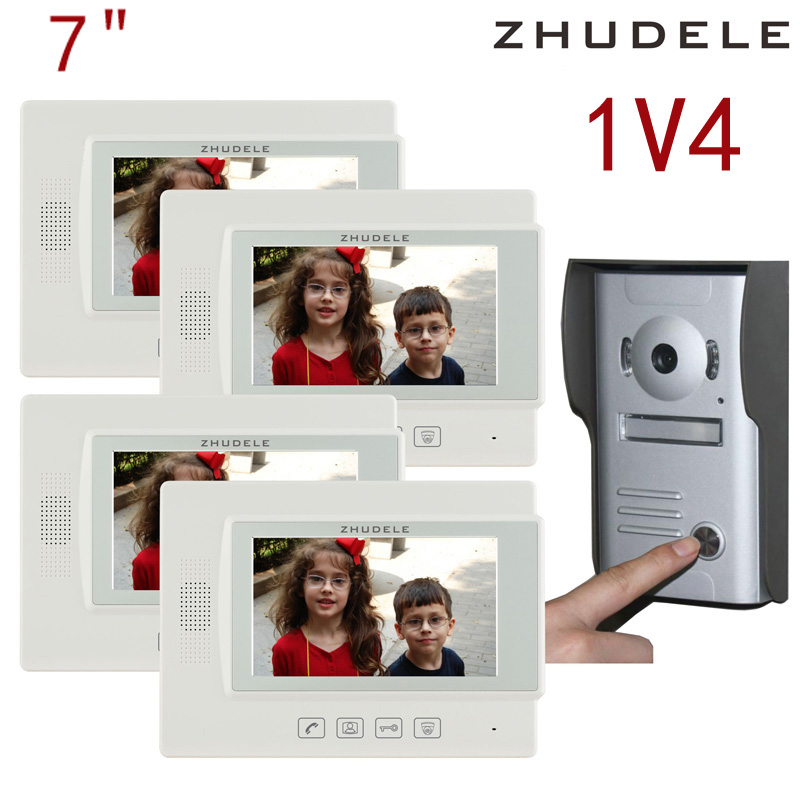 Free shipping! zhudele 7 inch TFT Monitor LCD Color Video Door Phone DoorBell 1V4 Intercom System touch panel 700TV Line 37M4 8 4inch 8 4 non touch industrial control lcd monitor vga interface white open frame metal shell tft type 4 3 800 600