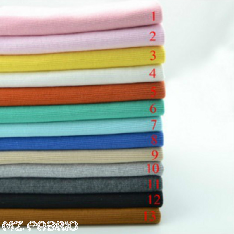 2x2 Stretchy Cotton Knitted Fabric 20 * 100CM Sweater Cotton Ribbed Fabric untuk DIY pakaian fabrik cuff dekat