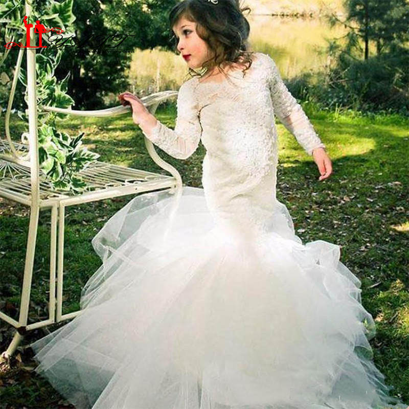 d25b19b14 2017 White Ivory Lace Long Sleeve Mermaid Flower Girl Dresses For Weddings  Cheap Jewel Long Modest Garden Country Wedding Gowns-in Flower Girl Dresses  from ...