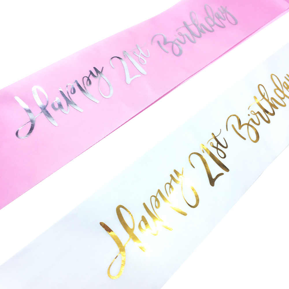 Detail Feedback Questions About Glitter Happy 21st Birthday Satin