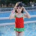 2016 estilo melancia sementes de melancia impressão bowknot borda dobra menina muito simples menina maiô ponto vermelho, um maiô