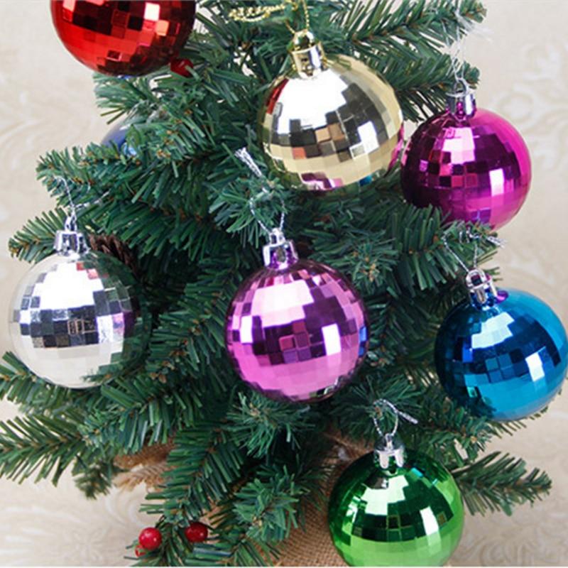 Christmas Home & Garden 6pcs Christmas Tree Ball Mirror Ball Stage Reflective Ball New Year Hotel Bright Ball Mall Holiday Xmas Hanging Decoration Decor