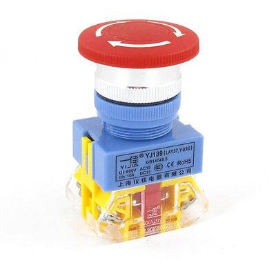 1pc 22mm Y090-11ZS 220V Red 10A 1 N/O N/C Replacing Emergency Stop Latching Push Button Switch