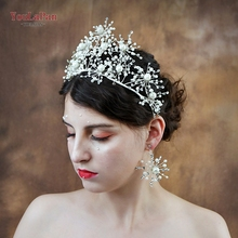 YouLaPan HP244 sliver crystal bride tiara crown fashion rhinestone queen wedding headband bridal party hair jewelry