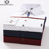 Sergio K Camisa 2018 Shirt Men Polka Dot Casual Men Shirt Brand Men Clothes Slim Fit