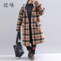 Women Faux Fur Plaid Coat Plus Size Long Sleeve Vintage Thicken Lambswool Winter Long Hoodie Jacket Teddy Bear Coat 4XL 5XL 2019