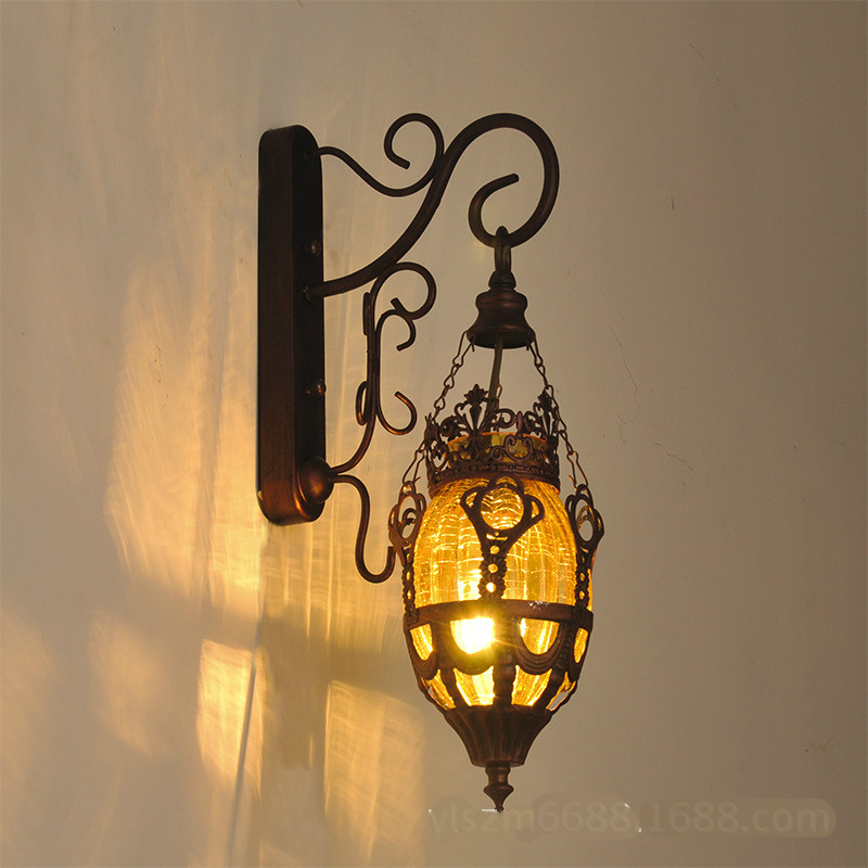 Vintage Exotic Bohemia Southeast Asia Iron Colorful Glass E27 Wall Light For Entrance Aisle Coffee Bar Restaurant Teahouse 1843 printed assassins creed canvas shoes fashion design hip hop streetwear unisex casual shoes graffiti women flat shoe sapatos