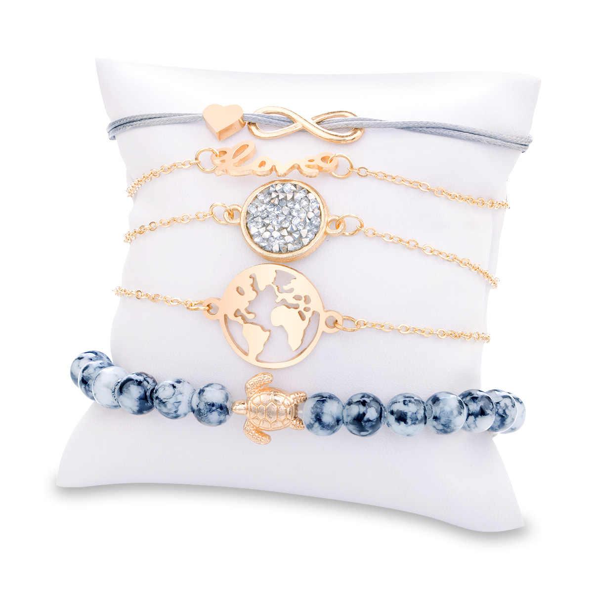 Gray Beads Bracelets Bohemian Creative World Map Turtle Love Heart Infinity Charm Bracelets Set Fashion Jewelry drop shipping