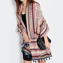 [AETRENDS] Twill Cotton Bohemia Thailand Style Pashmina with Tassels Shawl Cape Women Scarf Z-2331