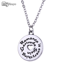 My Shape Affirmation Letter Heart Necklaces Round Engraved Quote Charm Pendant Necklace Alloy Women Jewelry Silver Trendy New