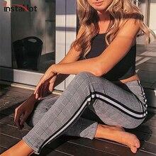 InstaHot elastyczne rozciągliwe boczne paski Plaid ołówek spodnie kobiety dorywczo jesień kobiety spodnie elastyczny pas Tweed skos elegancki