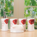 Red rose white ceramic bathroom set shukoubei toothbrush bottle home decoration