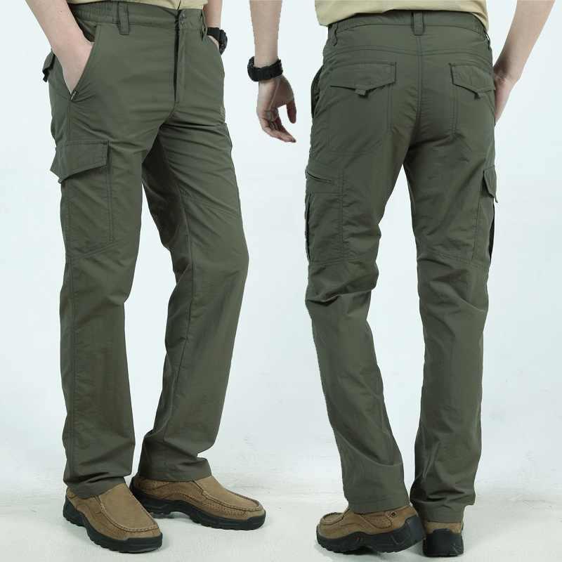Штаны карго с множеством карманов штаны мужские рабочие дышащие быстросохнущие армейские мужские брюки повседневные Летние Осенние свободные военные тактические брюки мужские