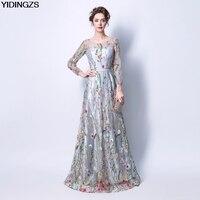 Black Grey Embroidery Flower Evening Dresses