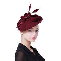 Fascinator Hats for Women Winter Wool Church Hat Pillbox Hats for Formal Cocktail Party Wedding Hats Dress Fedoras M10