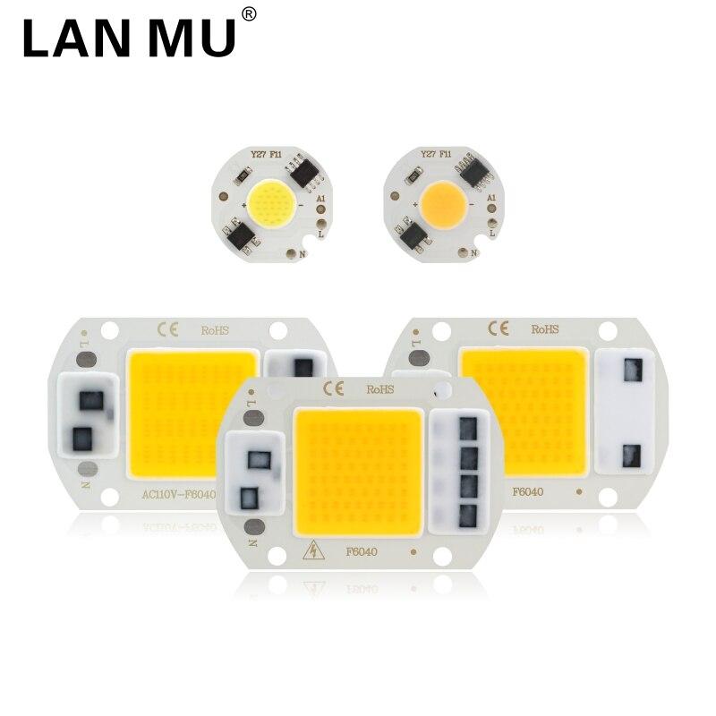 LED COB Chip 10W 20W 30W 50W 220V IC inteligente No necesita controlador 3W 5W 7W 9W bombilla LED para luz de inundación proyector de iluminación