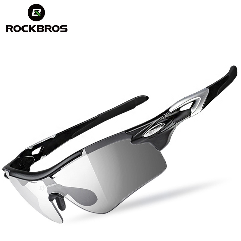 ROCKBROS Polarized Photochromic Cycling Glasses Bike Glasses Outdoor Sports Bicycle Sunglasses Goggles Eyewear With Myopia Frame half frame male pure titanium with polarized glasses myopia glasses sunglasses night vision clip titanium frame magnet driving