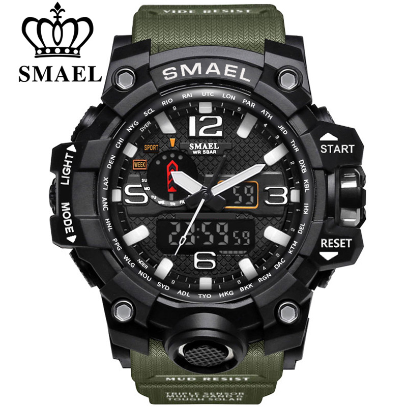 SMAEL brand men sports watches dual display analog digital LED Electronic quartz watches 50M waterproof swimming watch1545 clock in Sports Watches from Watches