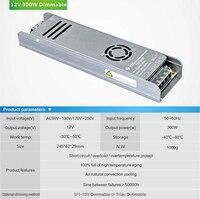 Triac & 0 10V dimmable DC power supply for led strip light DC 12Vdc 25A DC 24V 12.25A 300w lighting transformer