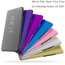 Mirror Flip Case For Samsung Galaxy A5 2018 Luxury Clear View PU Leather Cover Smart phone