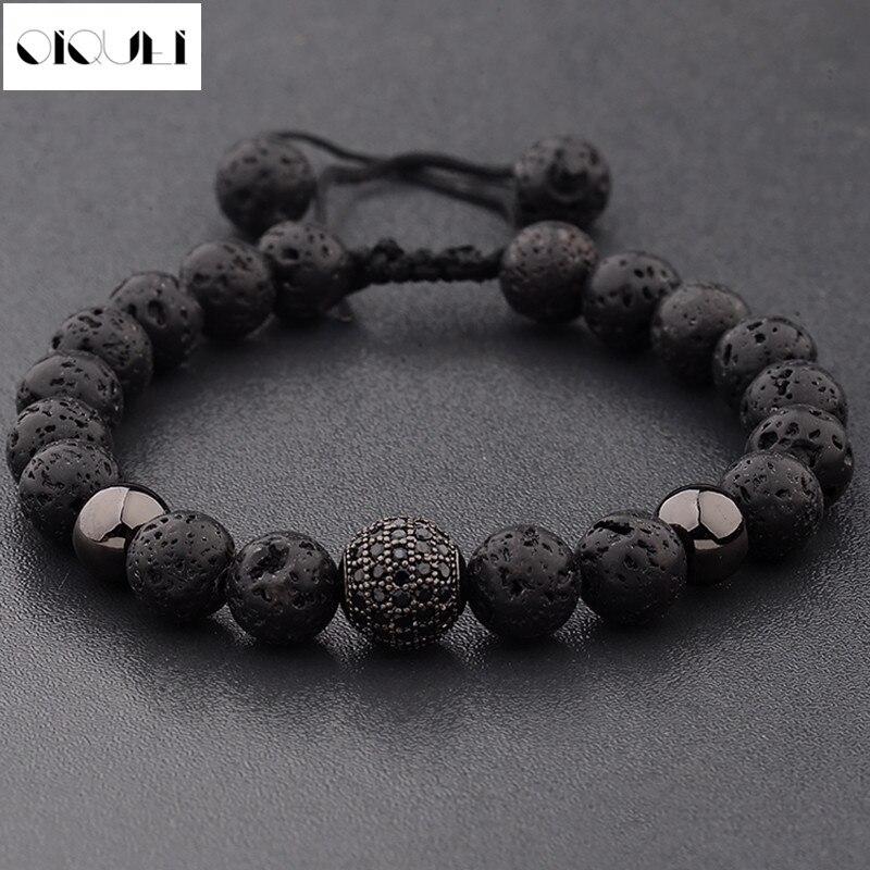 OIQUEI 2019 Fashion 8mm Micro Pave Stone Beads Bracelet Men Black Lava Round Stone Strand Bracelets&Bangles Pulseras Hombres