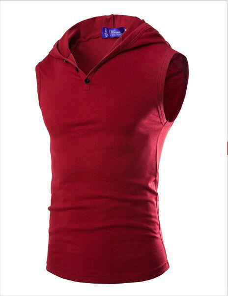 2015 Nova Mens top Hip Hop Tanque Com Capuz cor sólida camisola de Algodão Sportswear Homens Musculação Vest Camisa Sem Mangas Casuais