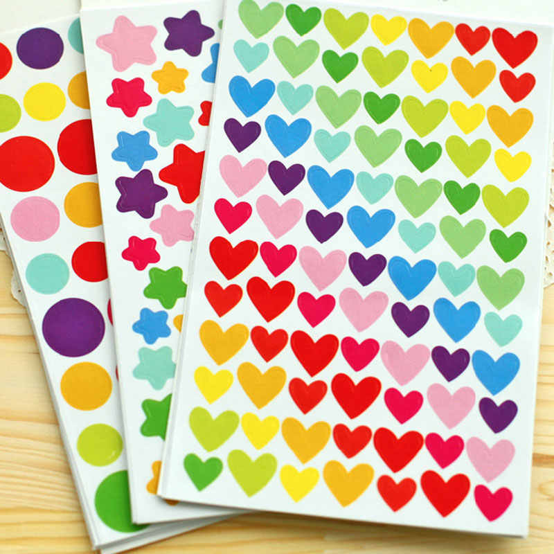 Cute Stickers 6 Sheets Into the Rainbow Love Stars Corner Stickers DIY Album Accessories Decorative Stickers Album Sticker PA26