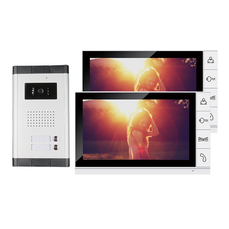 New Apartment 9 Color Screen Video Intercom Door Phone System 2 Monitors + 1 Doorbell Camera for 2 house Family FREE SHIPPING brand new apartment intercom entry system 2 monitors wired 7 color video door phone intercom system for 2 house free shipping