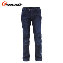 Riding Tribe Summer Breathable Motorcycle Riding Pants Drop Resistance Slim Denim Motocross Off-road Racing Jeans Hip Protector