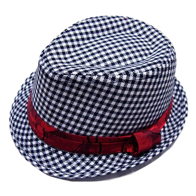 26b6eb5975a Baby Cap Kid Hat Mixing Style Jazz Cap Trilby Black White Fine Grid ...