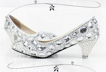 2016  Handmade Round Toe Shining Crystal Wedding Shoes Rhinestone Party Shoes Custom-made High heel Silver Women Dress Shoes