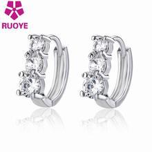 2017 Fashion Earrings For Women A Row Luxury Crystal Stud Earrings Buckle Girl Gift Exquisite Silver  Ear Jewelry