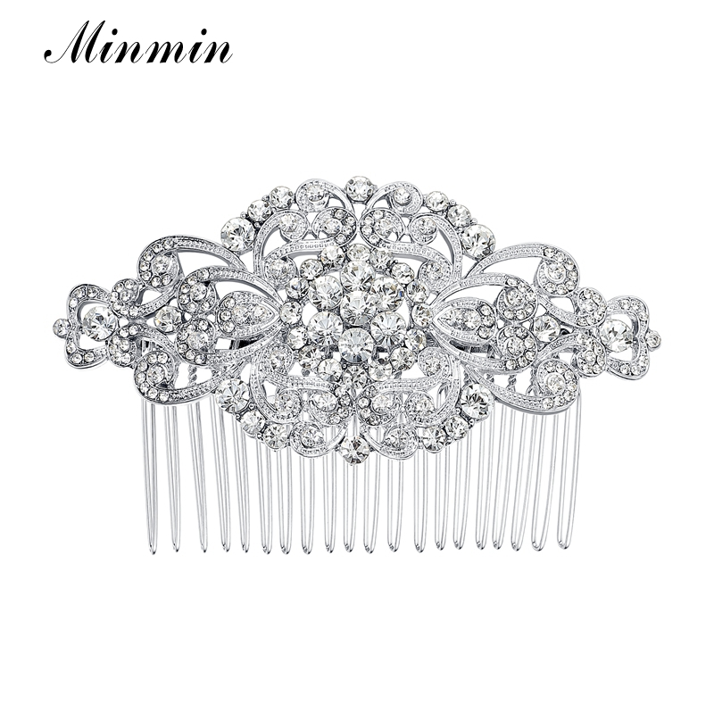 Minmin Floral Crystal Hair Combs Wedding Hair Accessories Hair Jewelry for Women Bridal Hairpins Tiara for Brides FS069