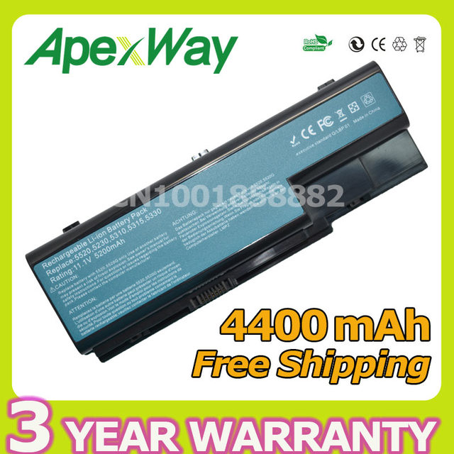Apexway 4400 mah 10.8 v batería del ordenador portátil para acer as07b31 as07b32 as07b41 as07b42 as07b51 as07b52 as07b61 as07b71 as07b72 6 células