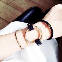 Hot New 2016 Fashion Metal Circle Bangle Statement Black Leather Love Bracelets Women Gift Wrist Band