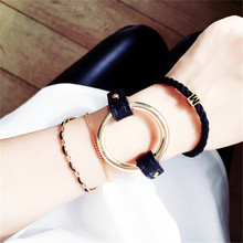 Hot New 2016 Fashion Metal Circle Bangle Statement Black Leather Love Bracelets Women Gift Wrist Band Daily Jewelry Accessories