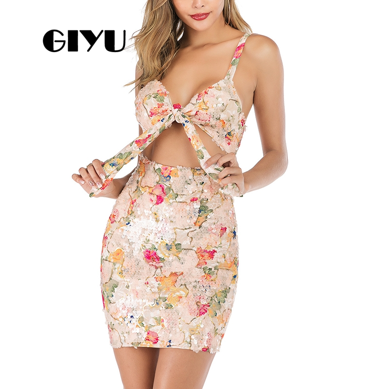 GIYU Sequins Women Tie-up Dress Flower Pringting Dresses Strap Mini Vestido Sexy Hollow Out Empire robe femme