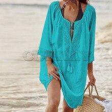 CUERLY 2019 Cotton Tunics for Beach Women Dress Cover up Woman Swimwear Pareo Saida de Praia