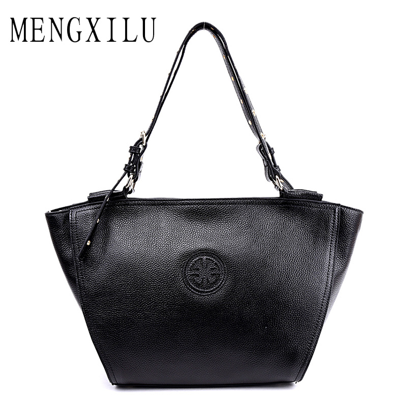 MENGXILU Vintage Women Genuine Leather Handbags Women Shoulder Bag Large Capacity Cow Leather Casual Tote Bag Bolsa Feminina New fashion women genuine leather handbags large capacity tote bag oil wax leather shoulder bag crossbody bags for women