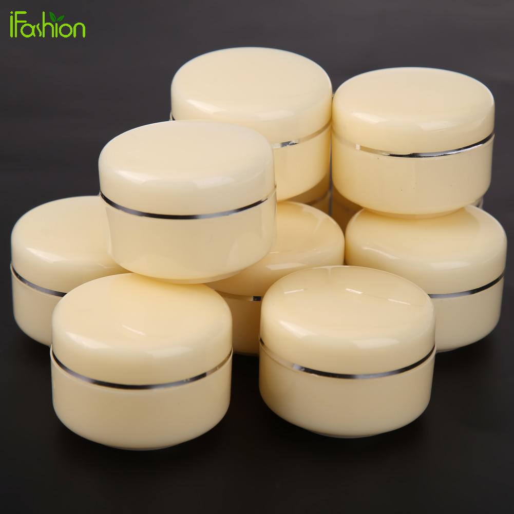 10pcs 30g Empty Face Cream Cosmetic Jar Pot Travel Eyeshadow Face Cream Container Capacity Box Beige Top Quality Organizer 10pcs empty cosmetic jar pot acrylic eyeshadow makeup face cream container portable travel box for skin care lotion 5g