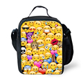 FORUDESIGNS Funny Emoji Face Prints Picnic Bag For Kids Cute 3D Printed Lunchbox Boys And Girls Outdoor Food Lunch Bag Handbag
