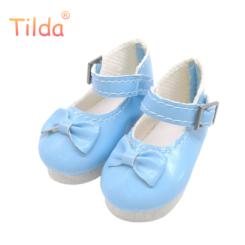 Tilda Butterfly Design Bow Tie Doll Boots PU Leather Shoes For Paola Reina Doll Toy,1/4 Mini Doll Shoes for Doll Accessories