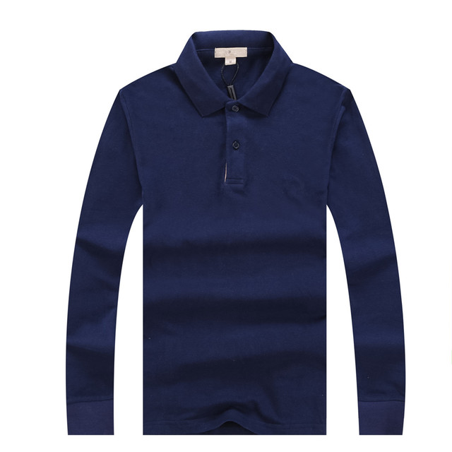 Cotton Long Sleeve Casual Men Polo Shirt Camisa Autumn High Quality Navy Blue Gray Breathable Luxury Designer Male Polo Homme
