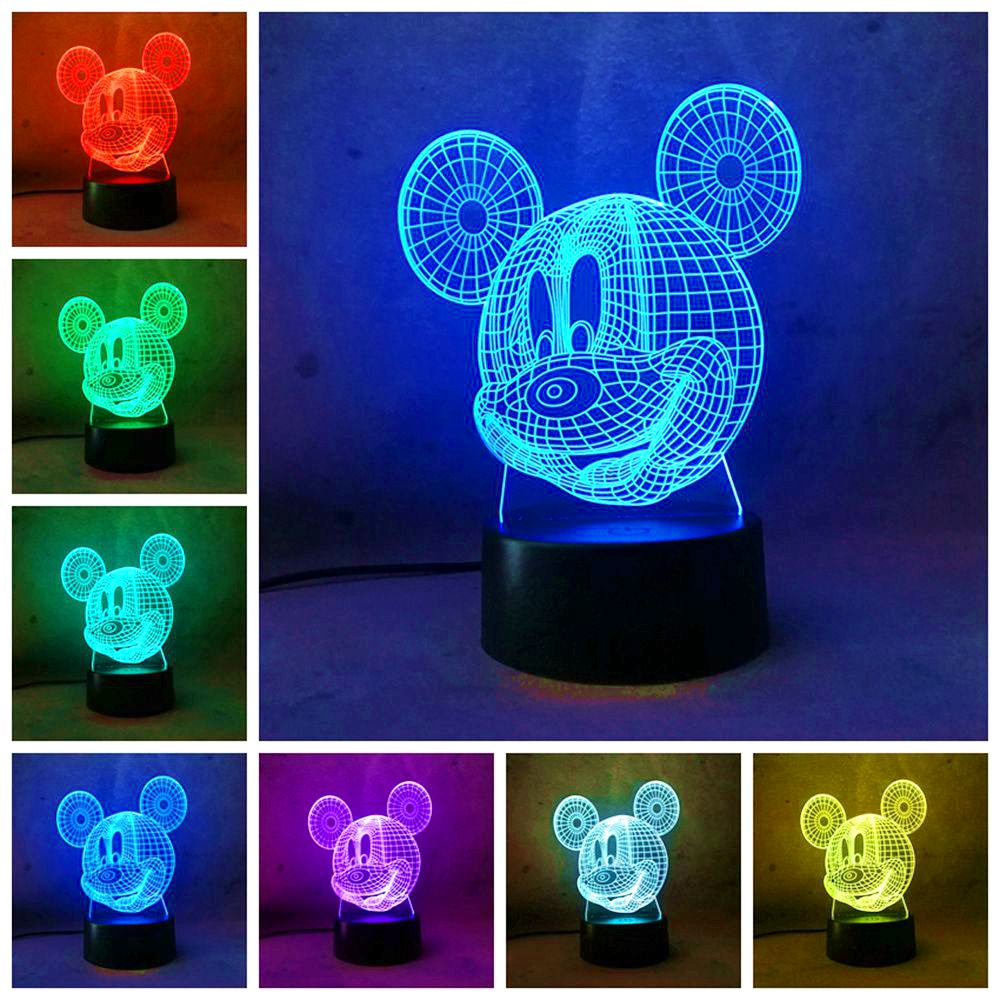 new 3D Mickey Mouse Kid LED Night Light Cartoon LED Lamp Night Light 3D illusion Lamp Birthday Christmas Child Light Gift free shipping 1piece new arrive marvel anti hero deadpool figure light handmade 3d bulbing illusion lamp led mood light for kid