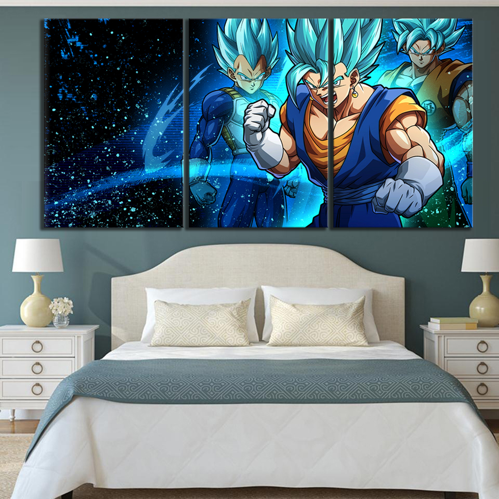 3 Piece Dragon Ball Super Cartoon Movie Poster Paintings for Children Room Wall Decor