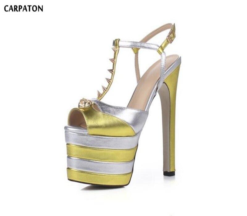 Carpaton 2018 Newest Patent Leather High Platform T-type Rivet Belt Crystal Style Women Square Heels High Heel Sandals