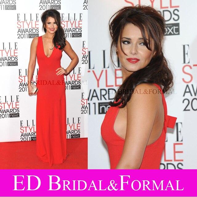 Cheryl Cole font b Dress b font Red Chiffon Plunging V Neck Prom font b Evening