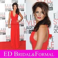 Cheryl Cole Kleid Roten Chiffon Tiefer V-ausschnitt Prom Abendkleid Elle Style Award 2011 Berühmtheits-roter Teppich Kleid